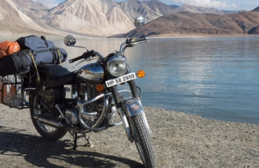 Himalaya on a royal enfield motorcycle