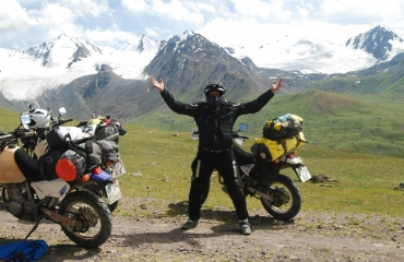 Tien Shan Kirghiz on a motorcycle